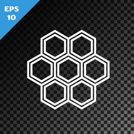 White line Honeycomb icon isolated on transparent dark background. Honey cells symbol. Sweet natural food. Vector Illustration