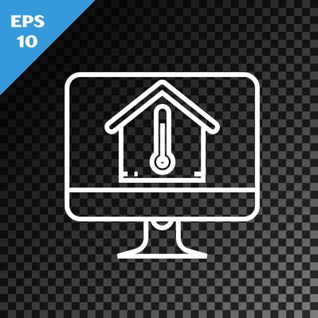 White line Computer monitor with house temperature icon isolated on transparent dark background. Thermometer icon. Vector Illustration Stock Illustratie