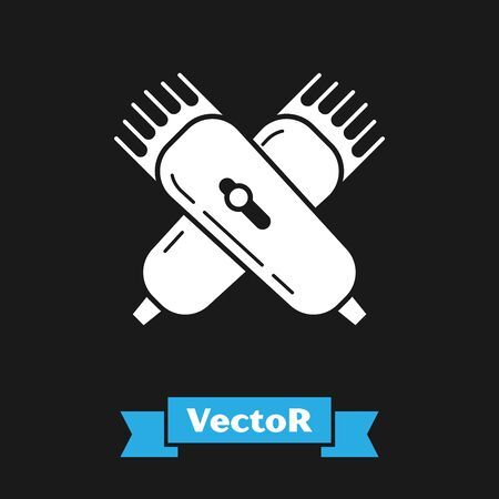 White Crossed electrical hair clipper or shaver icon isolated on black background. Barbershop symbol. Vector Illustration Çizim