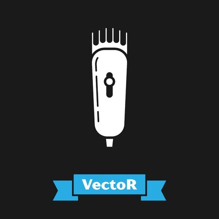 White Electrical hair clipper or shaver icon isolated on black background. Barbershop symbol. Vector Illustration Çizim