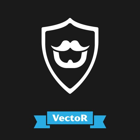 White Mustache and beard on shield icon isolated on black background. Barbershop symbol. Facial hair style. Vector Illustration