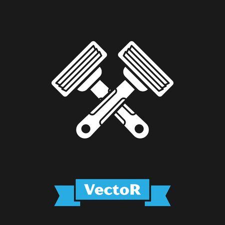 White Crossed shaving razor icon isolated on black background. Vector Illustration