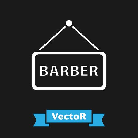 White Barbershop icon isolated on black background. Hairdresser signboard. Vector Illustration