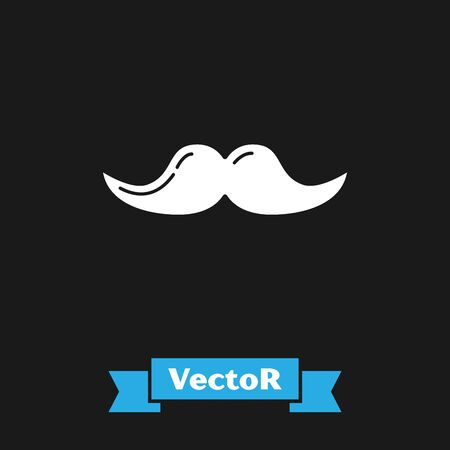 White Mustache icon isolated on black background. Barbershop symbol. Facial hair style. Vector Illustration Çizim