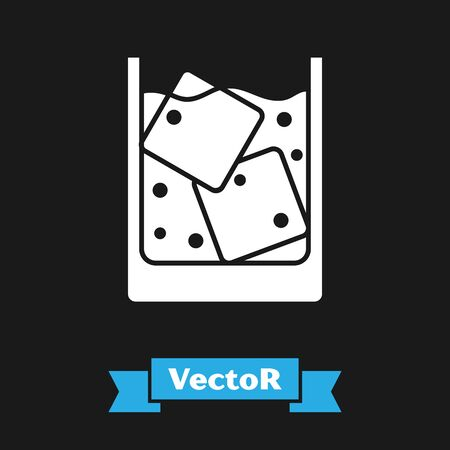 White Glass of whiskey and ice cubes icon isolated on black background. Vector Illustration Banco de Imagens - 130743728