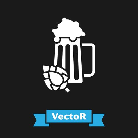 White Glass of beer and hop icon isolated on black background. Vector Illustration