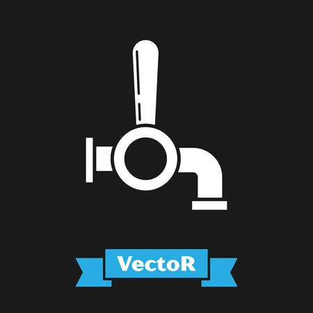 White Beer tap icon isolated on black background. Vector Illustration