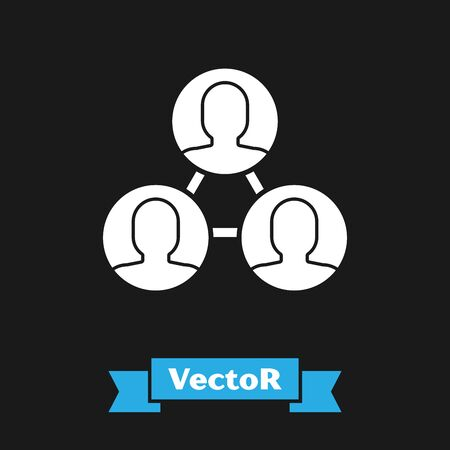 White Project team base icon isolated on black background. Business analysis and planning, consulting, team work, project management. Vector Illustration