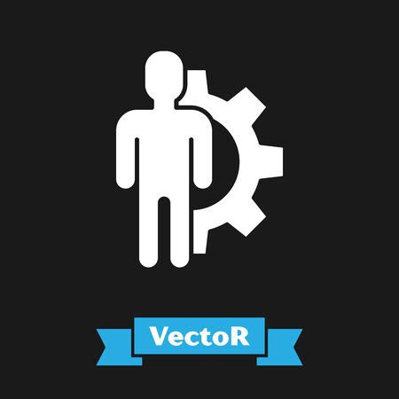 White Human with gear inside icon isolated on black background. Artificial intelligence. Thinking brain sign. Symbol work of brain. Vector Illustration