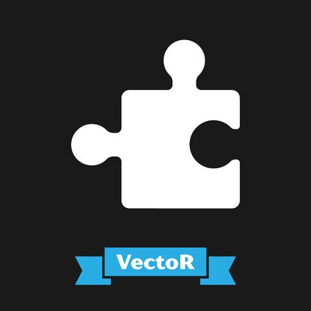White Piece of puzzle icon isolated on black background. Modern flat, business, marketing, finance, internet concept. Vector Illustration