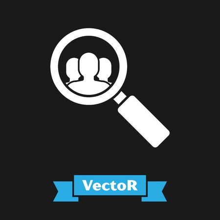 White Magnifying glass for search a people icon isolated on black background. Recruitment or selection concept. Search for employees and job. Vector Illustration