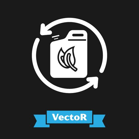 White Bio fuel canister icon isolated on black background. Eco bio and barrel. Green environment and recycle. Vector Illustration