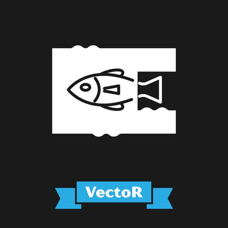 White Stop ocean plastic pollution icon isolated on black background. Environment protection concept. Fish say no to plastic. Vector Illustration