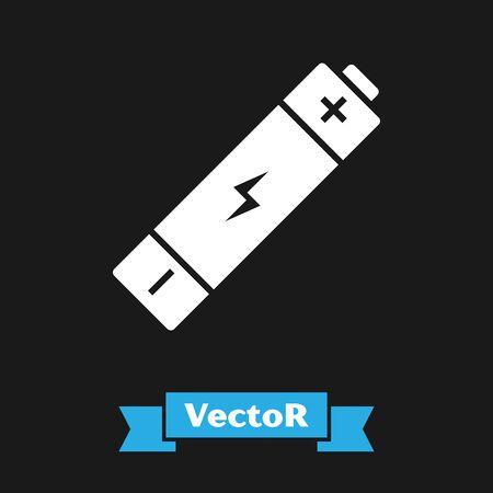 White Battery icon isolated on black background. Lightning bolt symbol. Vector Illustration