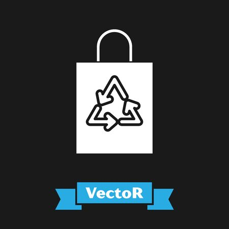 White Plastic bag with recycle icon isolated on black background. Bag with recycling symbol. Vector Illustration