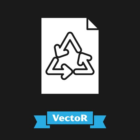 White Paper with recycle icon isolated on black background. Vector Illustration