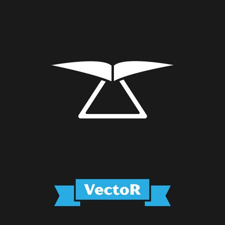 White Hang glider icon isolated on black background. Extreme sport. Vector Illustration