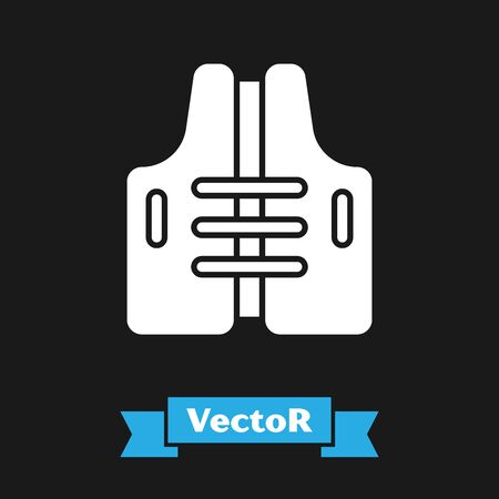 White Life jacket icon isolated on black background. Life vest icon. Extreme sport. Sport equipment. Vector Illustration