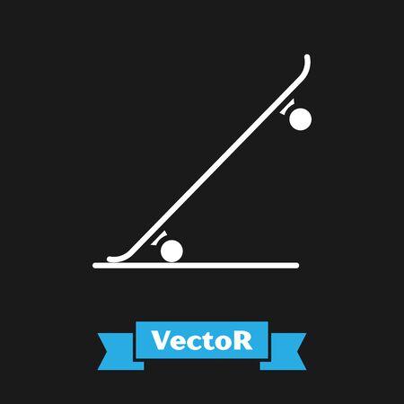 White Skateboard icon isolated on black background. Extreme sport. Sport equipment. Vector Illustration