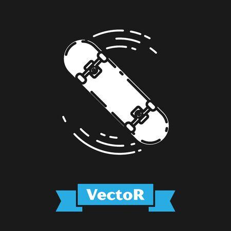 White Skateboard trick icon isolated on black background. Extreme sport. Sport equipment. Vector Illustration