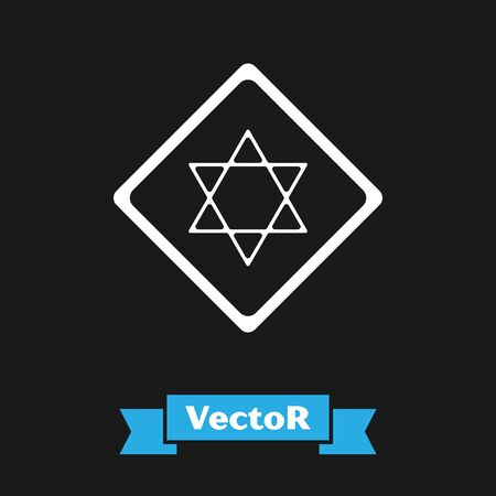White Star of David icon isolated on black background. Jewish religion symbol. Symbol of Israel. Vector Illustration Illustration