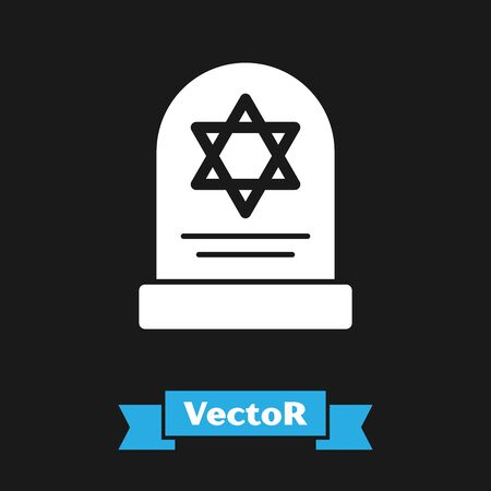 White Tombstone with star of david icon isolated on black background. Jewish grave stone. Gravestone icon. Vector Illustration