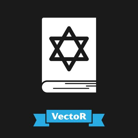 White Jewish torah book icon isolated on black background. Pentateuch of Moses. On the cover of the Bible is the image of the Star of David. Vector Illustration