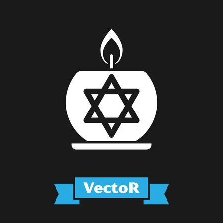 White Burning candle in candlestick with star of david icon isolated on black background. Cylindrical candle stick with burning flame. Vector Illustration