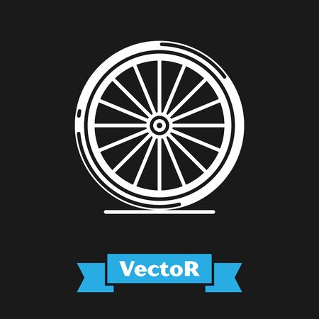 White Bicycle wheel icon isolated on black background. Bike race. Extreme sport. Sport equipment. Vector Illustration
