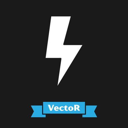 White Lightning bolt icon isolated on black background. Flash sign. Charge flash icon. Thunder bolt. Lighting strike. Vector Illustration