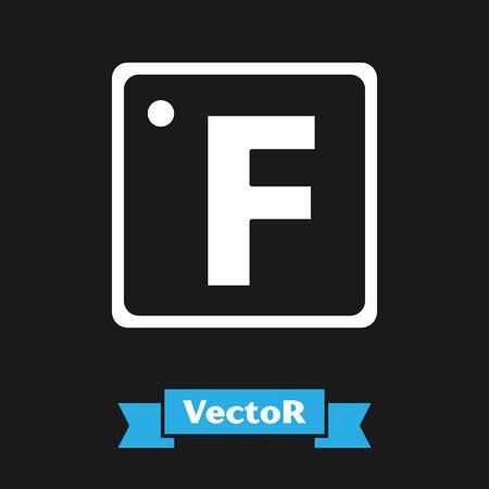 White Fahrenheit icon isolated on black background. Vector Illustration