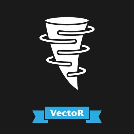 White Tornado icon isolated on black background. Vector Illustration Illustration