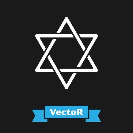 White Star of David icon isolated on black background. Jewish religion symbol. Symbol of Israel. Vector Illustration Stock Vector - 130745118