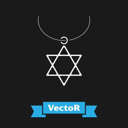 White Star of David necklace on chain icon isolated on black background. Jewish religion symbol. Symbol of Israel. Jewellery and accessory. Vector Illustration Illustration