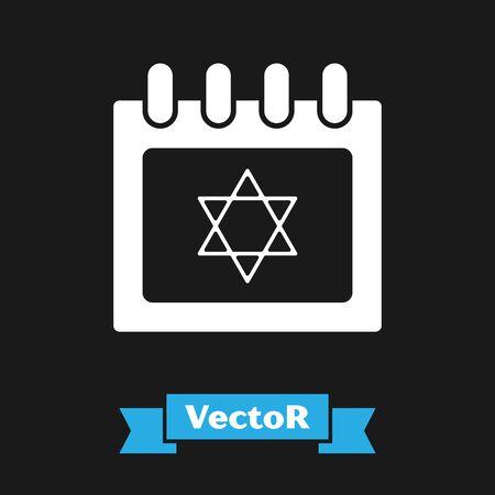 White Jewish calendar with star of david icon isolated on black background. Hanukkah calendar day. Vector Illustration