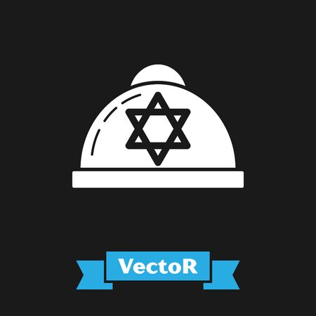 White Jewish kippah with star of david icon isolated on black background. Jewish yarmulke hat. Vector Illustration Çizim