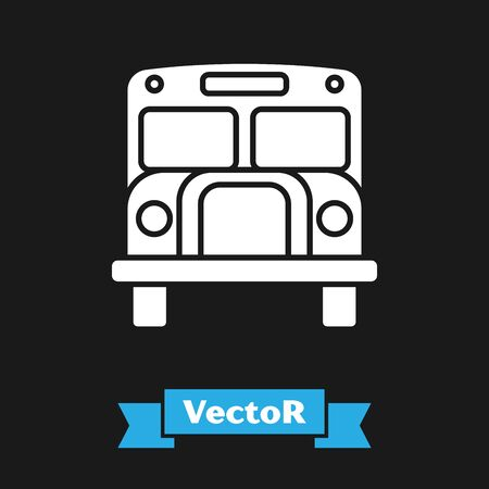 White School Bus icon isolated on black background. Public transportation symbol. Vector Illustration