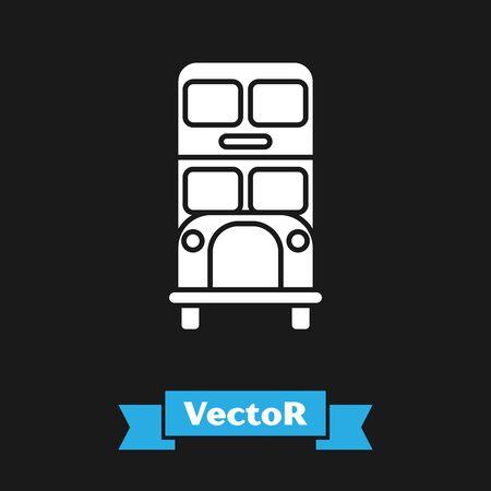 White Double decker bus icon isolated on black background. London classic passenger bus. Public transportation symbol. Vector Illustration
