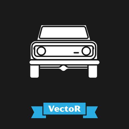 White Off road car icon isolated on black background. Vector Illustration Ilustração