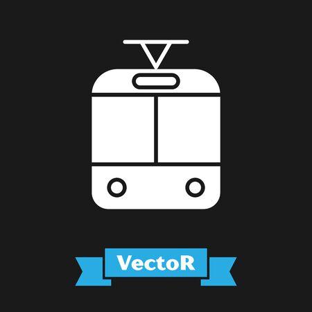 White Tram and railway icon isolated on black background. Public transportation symbol. Vector Illustration