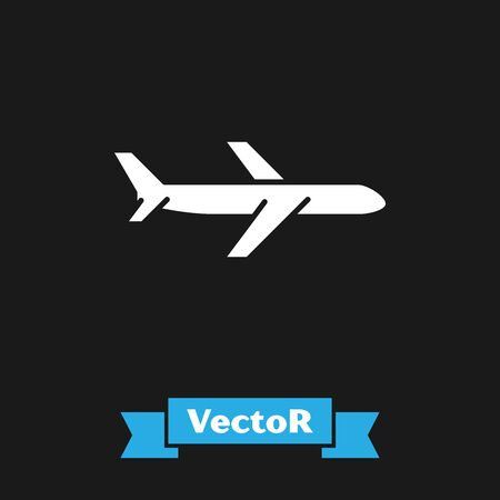 White Plane icon isolated on black background. Flying airplane icon. Airliner sign. Vector Illustration Иллюстрация