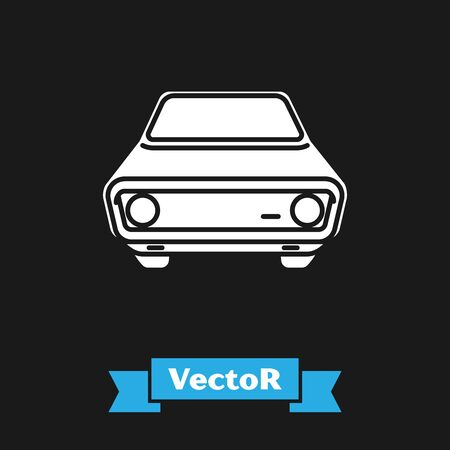 White Car icon isolated on black background. Front view. Vector Illustration Иллюстрация