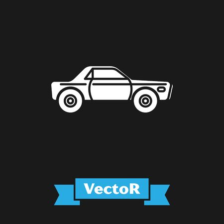 White Sedan car icon isolated on black background. Vector Illustration