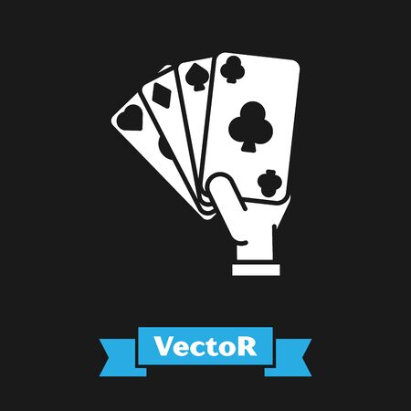 White Hand holding playing cards icon isolated on black background. Casino game design. Vector Illustration