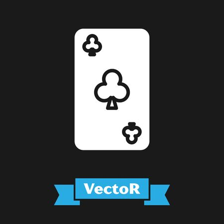 White Playing card with clubs symbol icon isolated on black background. Casino gambling. Vector Illustration
