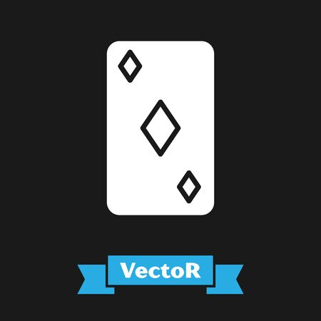 White Playing card with diamonds symbol icon isolated on black background. Casino gambling. Vector Illustration  イラスト・ベクター素材