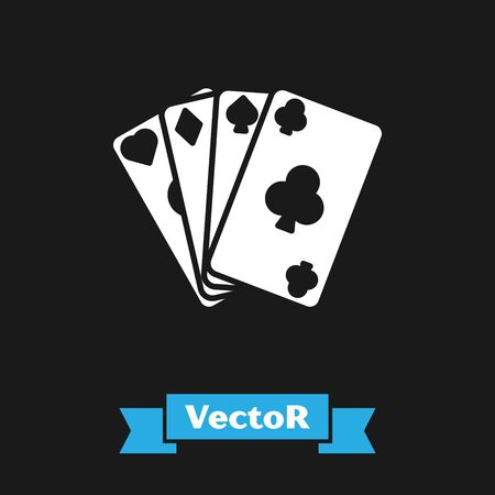 White Playing cards icon isolated on black background. Casino gambling. Vector Illustration Stockfoto - 130734599