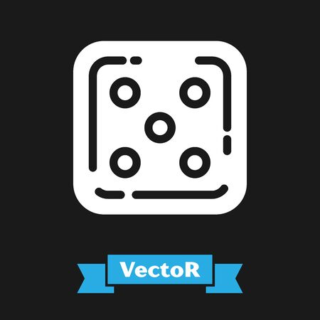 White Game dice icon isolated on black background. Casino gambling. Vector Illustration