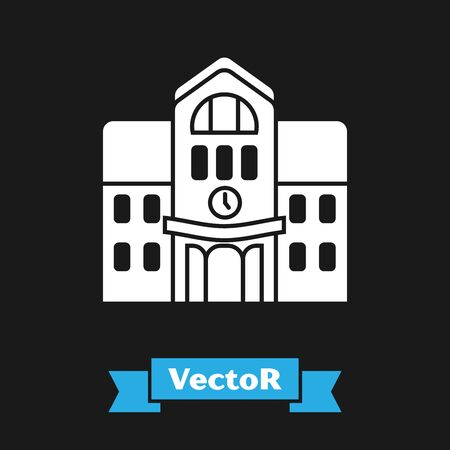 White School building icon isolated on black background. Vector Illustration