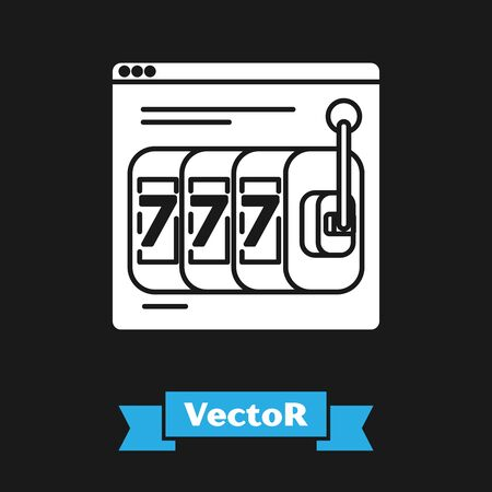 White Online slot machine with lucky sevens jackpot icon isolated on black background. Online casino. Vector Illustration
